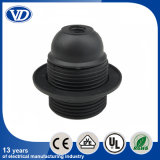 E26/E27 Black Plastic Lampholder with Full Threading Body with Ring