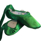 Colorized Split-Sole Green Satin Ballet Dance Slipper