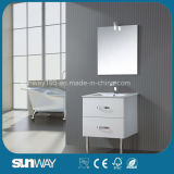 High Gloss White Wicker Drawer Cabinet Bathroom with Mirror
