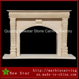 Beige Marble Simple Fireplace Surround for Home Decoration