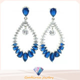 High Quality Fashion Jewelry Blue Colors Rhodium Plated Crystal Water Drop Earring Silver Jewelry (E6404)