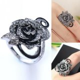 Black Rose Flower Cute Female Ring with Rhinestones for Woman