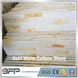 White & Golden Marble Stacked Ledge Culture Stone for Feature Wall