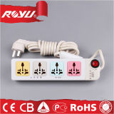 Flat Electrical Power 4 Way Extension Cord Socket with Switch