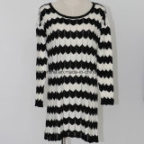 Ladies′ Pick Holes Lose Version Zigzag Striped and Intarsia Design Sweater Dress