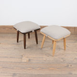 Solid Wood Fabric Creative Small Chair Shoe Stool with Cushion