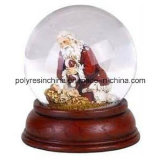 Christmas Snow Globe with Wooden Color Base