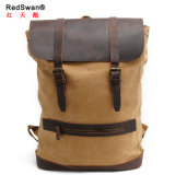 China Supplier Washed Canvas Backpack Waxed Crazy Leather Backpack Factory (RS2163-P)