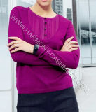 Round Neck Ladies′ Cashmere Pullover with Buttons