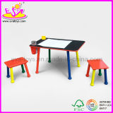Table with Two Stools School Chair for Kids, Colorful Wooden Toy School Chair for Children, Hot Sale Wooden School Chair Wj278604