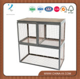 Floor Standing Wire Display Unit with Wood Shelf