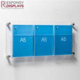 Modern Transparent Acrylic Wall-Mounted Brochures Display