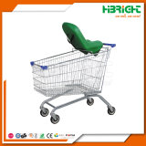 Galvanized Supermarket Shopping Carts with Baby Security Seat