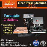 St-C 2 Work Stations Pneumatic T-Shirt Thermal Hot Heat Transfer Press Printing Machine