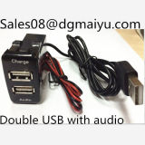 Dual 2.1A USB Car Cigarette Lighter Charger for Toyota - Black