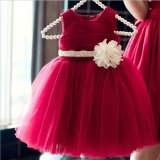 Kd1063 Fashion Summer Full Dress Little Princess Dresses Sleeveless Tutu Dresses Evening Gowns Dress with Flower Sash for Retail