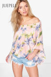 Print Chiffon off The Shoulder Women Blouse
