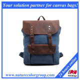 Vintage Canvas Backpack Knapsack with Leather Trim for Travel & Outdoor