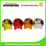 Lovely Colorful Ceramic Cow Coin Counter Bank Without Lock