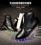 British Fashion High Quality Leather Men Women Martin Boots LED Shoes for Adults