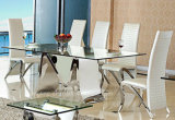 Modern Design Rectangle Glass Dining Table for Living Room Furniture