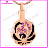 Bisuteria Mujer Cremation Jewelry Urn Necklaces Pendants for Ashes Flower Shape with Crystals
