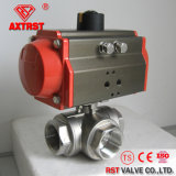 Floating Thread Three Way Ball Valve with Pneumatic Actuator