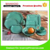Green Glazed Porcelain Dinner Set for Hotel Restaurant Table Use
