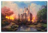 Wholesale 2016 Latest LED Light Decoration Painting Castle Landscape Oil Paintings on Canvas, Homedecoration Painting