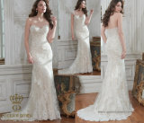 A-Line/Princess V Neck Sweep Train Tulle Lace Wedding Dress with Beading