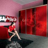 Oppein Modern Red Color Sliding Interior Wardrobe (OPY09-34)