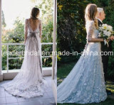 Illusion 3/4 Sleeves Tulle Wedding Dress Silver Bridal Wedding Gown Ld15256