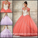 Beading Sweetheart Coral Blue Ruffed Ball Gown Quinceanera Dress Ld15215