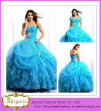 Custom Made Blue Ball Gown Ruffle Beaded Western Quinceanera Dresses (SR30)