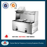 Stainless Steel 2-Tank 2-Basket Gas Fryer with Top Shelf (HGF-906C)