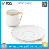 White and Golden Eastern Europe Big Ceramic Cup with Plate