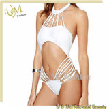 Latest White Hollow Halter Sexy One Piece Girls Swimwear