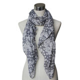 Lady Fashion Cotton/Linen Voile Knitted Printed Scarf (YKY4072)
