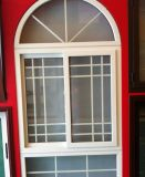 Auatralian Standard 60 Series PVC Casement Glass Window with Arched Top and Grill Design (PCW-023)