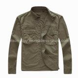 Army Green 100% Cotton Men′s Casual Shirt (HF1907)