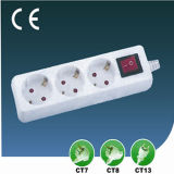 Three Ways EU Outlet Extension Socket with Switch