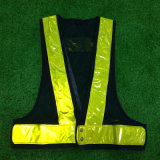 Size Adjustable Black Mash Yellow Reflective Strip LED Safety Vest