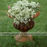 Sunset Red Marble Flowerpot/Planter with Relief Decorations