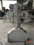 Grey Granite Cross Carving Flower Monument / Headstone