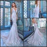 Sheer Lace Wedding Dress Sleeves V-Neck Backless Daria Custom Bridal Gowns Gv20176