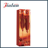 Glossy Laminated Ivory Paper Champagne Bottle Shopping Gift Paper Bag