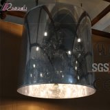 European Restaurant Decorative Chrome Columnar LED Pendant Lamp with Crystal Drop