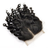 Virgin Human Hair Hand Tied Middle Parted Kinky Curly Lace Closure