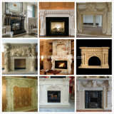 White/Yellow/Beige Marble Fireplace, Fireplace Mantel and Stone Fireplace