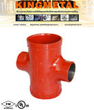 UL Grooved Coupling 4 Way Threaded Cross Joint Pipe Fitting